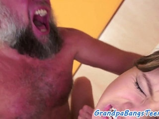 Young babe pounded and facialized by grandpa | facialsgrandpapoundingyoung
