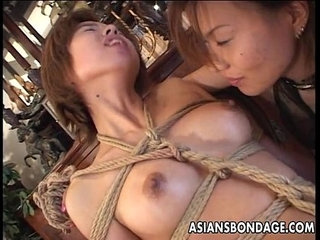 Bound Japanese cutie fingered by a horny mistress | cutehornyjapanesemistress