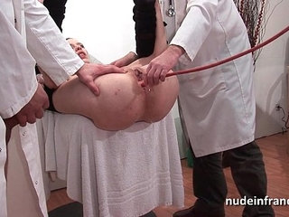 Naughty blonde ass plugged in threesome at the gyneco | 3someassblondenaughty