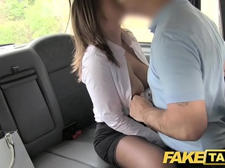 Fake Taxi office girl in stockings rimming anal sex and swallowing | analofficerimmingstockingsswallowtaxi