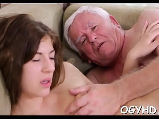 Brave young girl drilled by old rod   drillingolderyoung