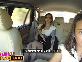 Female Fake Taxi Horny filthy lesbians lick shaved wet pussy in taxi | femalehornylesbianlickingshavedtaxi