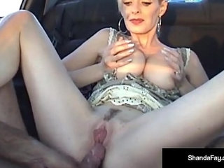 Canadian cougar shanda fay gets a load on her ass in car | asscarcougar
