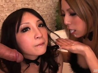 Two horny Japanese honies take control and share a hard cock and hot jizz | cockhornyjapanesejizzsharing