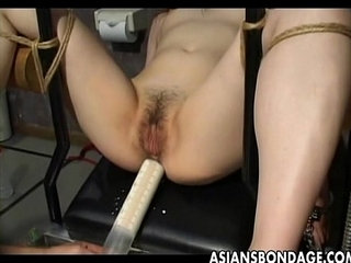 Asian slave tied up and toy fucked terrifically | asianbondageslavetoys